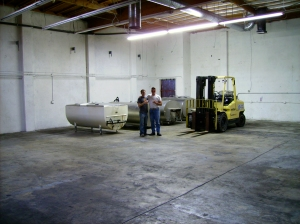 The first load of tanks in our brewery