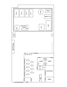 Rough draft of our floor plan and layout (and roughly to scale)