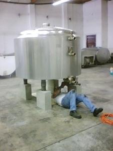 Steve working on the underside of the brew kettle