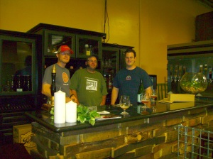 Me, Brian, and Patrick (L to R) at The Bruery's tasting bar.