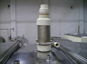 Grist Hydrator on top of Mash Tun