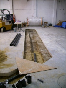 Future location of our brewhouse trench drain