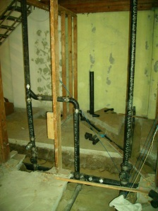 Rough plumbing for bathrooms