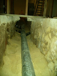 New sewer main (in the deep end of the trench)